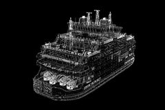 Ferryboat. Cargo 3D model body structure, wire model Stock Photos