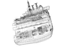 Ferryboat. Cargo 3D model body structure, wire model Royalty Free Stock Photography