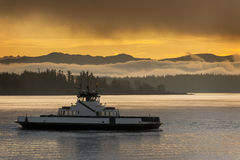 Ferryboat and the Cascade Mountains Stock Image