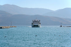 Ferryboat entering port Stock Photography