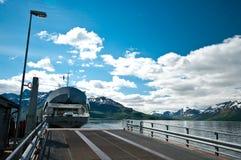 Ferryboat on fjord stock photos