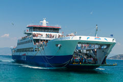 Ferryboat between Keramoti and Thassos island. In greece Stock Photography