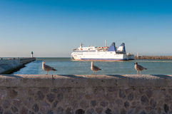 Ferryboat leaves port of Calais Royalty Free Stock Photo