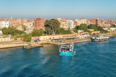 Free Ferryboat On The Suez Canal In Egypt Royalty Free Stock Photography - 142146467