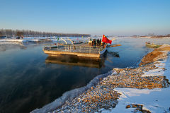 The ferryboat and people Zengtong village. The photo was taken in Wusong island Ulla manchu town Longtan district Jilin city Liaoning provence,China Stock Photos