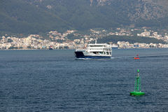 Ferryboat sailing near Igoumenitsa port. Greece Stock Images