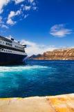 Ferryboat at Santorini port Stock Photos