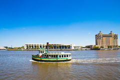 Ferryboat on  Savannah river Royalty Free Stock Images