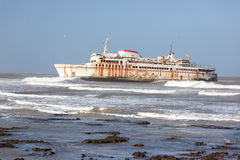 Ferryboat stranded on the shore. In Tarfaya, Morocco, Africa Royalty Free Stock Photography