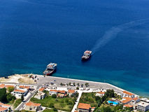 Ferryboats, aerial view. Ferryboats in Greek island's port, aerial view royalty free stock images