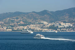 Ferryboats In The Of Canal Messina Stock Image