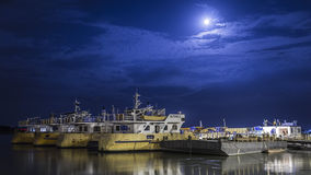 Ferryboats on Danube river. Full Moon and 2 ferryboats - GalaÈ›i, Romania stock images