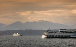 Ferryboats and Mountains Royalty Free Stock Images