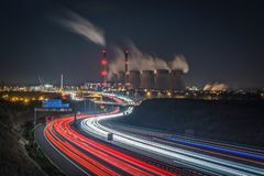 Ferrybridge Power Station Viewed Across A Motorway stock photos