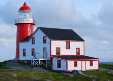 Ferryland Lighthouse. Old lighthouse at sunset in Ferryland, Newfoundland royalty free stock image