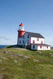 Ferryland lighthouse resting on green grass Royalty Free Stock Photo