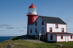 Ferryland lighthouse resting on green grass Royalty Free Stock Images