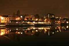 Ferrys in de nacht Stock Afbeelding
