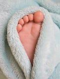 Ferse des Schätzchens in der flaumigen Decke Stockfoto