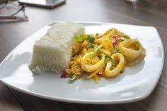 Fertania chili curry'ego owoce morza słuzyć z ryż Zdjęcie Royalty Free