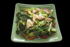 Fertania dłoniak Kai Gruntowa i crispy wieprzowina, Tajlandzki stylowy jedzenie zdjęcie stock