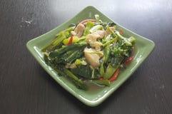 Fertania dłoniak Kai Gruntowa i crispy wieprzowina, Tajlandzki stylowy jedzenie zdjęcie royalty free