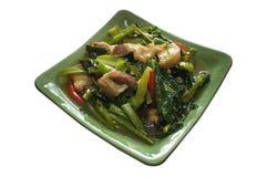 Fertania dłoniak Kai Gruntowa i crispy wieprzowina, Tajlandzki stylowy jedzenie obrazy stock