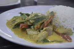 Fertanie Smażąca wieprzowina z Czerwoną curry pastą obrazy stock