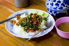 Fertanie Smażący wieprzowina basil, Tajlandzki jedzenie, Wyśmienicie, fertanie Smażył wieprzowiny Chi Fotografia Royalty Free