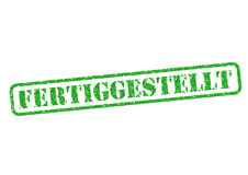 Fertiggestellt Stempel. Fertiggestellt Completed Stempel/Stamp over a white background Stock Photos