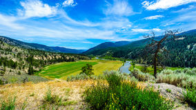 Fertile Farmland along the Nicola River between Merritt and Spences Bridge in British Columbia Stock Images