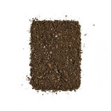 Fertile garden soil texture background top view isolated on white. Fertile soil texture background seen from above, top view. Gardening or planting concept stock image