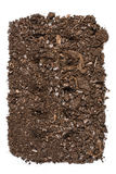 Fertile garden soil texture background top view isolated on white. Fertile soil texture background seen from above, top view. Gardening or planting concept stock photos
