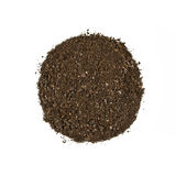 Fertile garden soil texture background top view isolated on white. Fertile soil texture background seen from above, top view. Gardening or planting concept royalty free stock photo