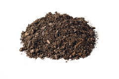 Fertile garden soil texture background top view isolated on white. Fertile soil texture background seen from above, top view. Gardening or planting concept royalty free stock photos