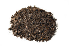 Fertile garden soil texture background top view isolated on white. Fertile soil texture background seen from above, top view. Gardening or planting concept royalty free stock image
