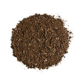 Fertile garden soil texture background top view isolated on white. Fertile soil texture background seen from above, top view. Gardening or planting concept stock images
