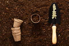 Fertile garden soil texture background top view. Fertile soil texture background seen from above, top view. Gardening or planting concept royalty free stock image