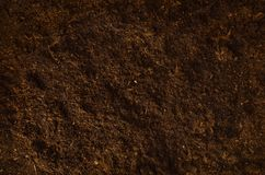 Fertile garden soil texture background top view stock photo