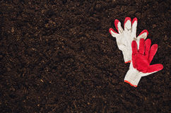 Fertile garden soil texture background top view. Fertile soil texture background seen from above, top view. Gardening or planting concept with copy space stock photography