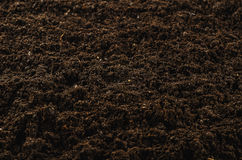 Fertile garden soil texture background top view. Fertile soil texture background seen from above, top view. Gardening or planting concept with copy space royalty free stock photo