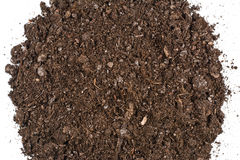 Fertile garden soil texture background top view. Fertile soil texture background seen from above, top view. Gardening or planting concept. Isolated on white royalty free stock photo