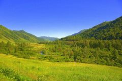 Fertile green valley at the foot of the mountain ranges. Altai, Siberia, Russia. Landscape. Fertile green valley at the foot of the mountain ranges. Altai royalty free stock images