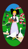 Fertile land. Girl in Alsatian costume with fruit basket and geese as seen on a hand-painted shutter - photo re-transformed into painting Royalty Free Stock Image
