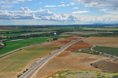 Fertile valley of the Spanish river Guadalquivir. Fertile valley of the river is photographed from above in spring. Guadalquivir begins in the Cazorla mountain stock photo