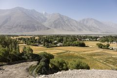 Fertile Wakhan Valley near Vrang in Tajikistan. The mountains in the background are the Hindu Kush in Afghanistan. Central asia royalty free stock images