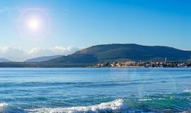 Fertilia with reflection. Fertilia seen from Alghero coast line Royalty Free Stock Photo