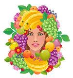 Fertility. Woman face with fruits on a white background Royalty Free Stock Photo
