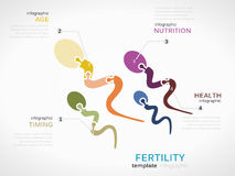 Fertility. Concept infographic template with sperm made out of puzzle pieces Stock Photos