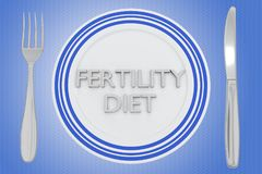 Fertility Diet concept. 3D illustration of FERTILITY DIET title on a white plate, along with silver knif and fork, on a pale blue background Stock Photo